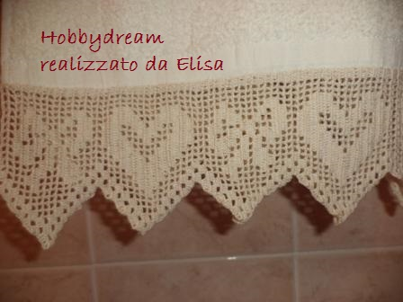 Asciugamano Con Bordo Filet Cuori E Fiocchi Hobbydream